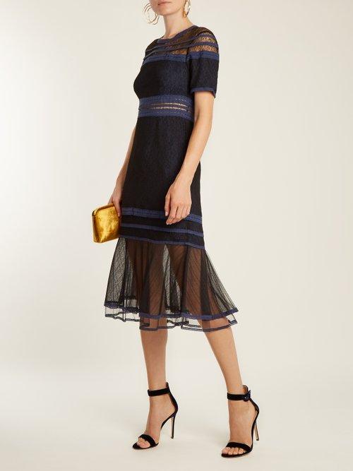 Short-sleeved lace-panel dress by Jonathan Simkhai