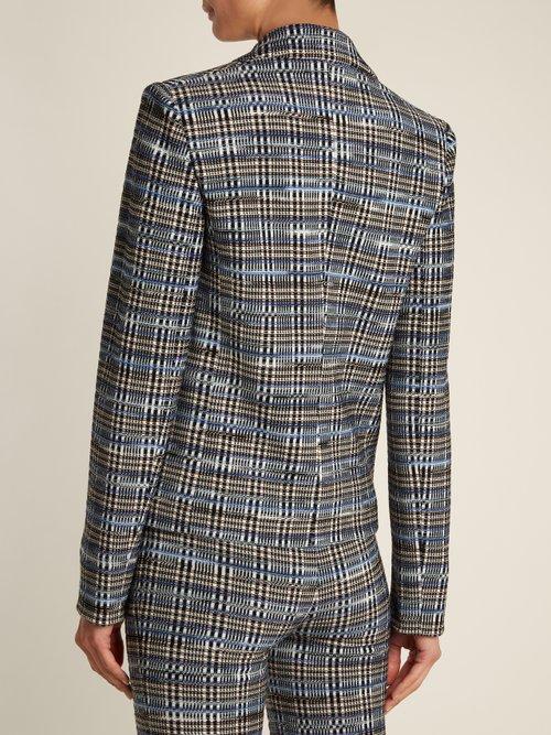 Checked wool-blend knit blazer by Missoni