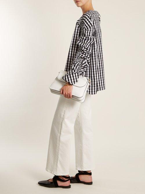 Smocked Sleeve Striped Cotton Top by TEIJA