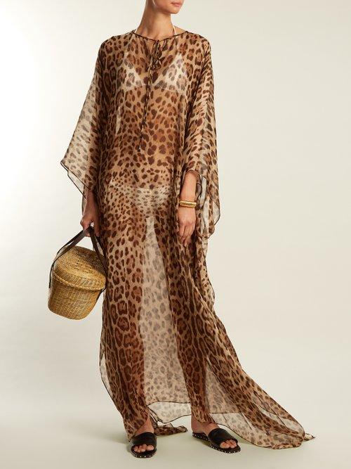 Leopard-print silk kaftan by Dolce & Gabbana