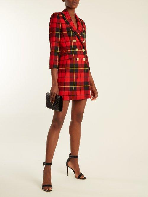 Tartan double-breasted wool mini dress by Balmain