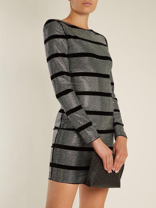 Crystal-embellished striped mini dress by Balmain