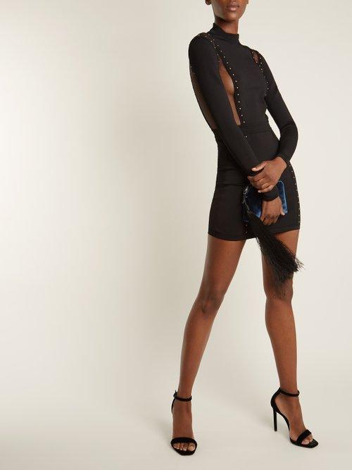 Mesh-insert studded body-con dress by Balmain