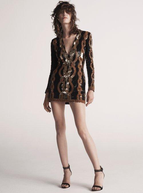 Shop Balmain V-neck sequin-embellished mini dress online sale