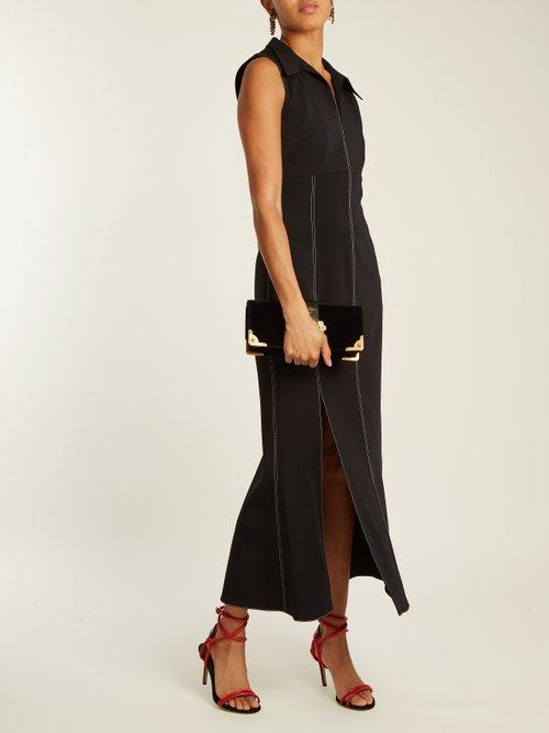 Point Collar Contrast Stitch Cady Dress by Christopher Kane