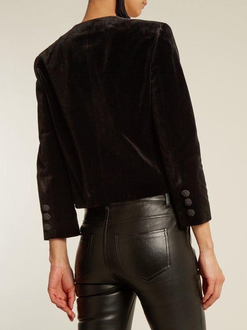 Collarless cotton-velvet jacket by Saint Laurent