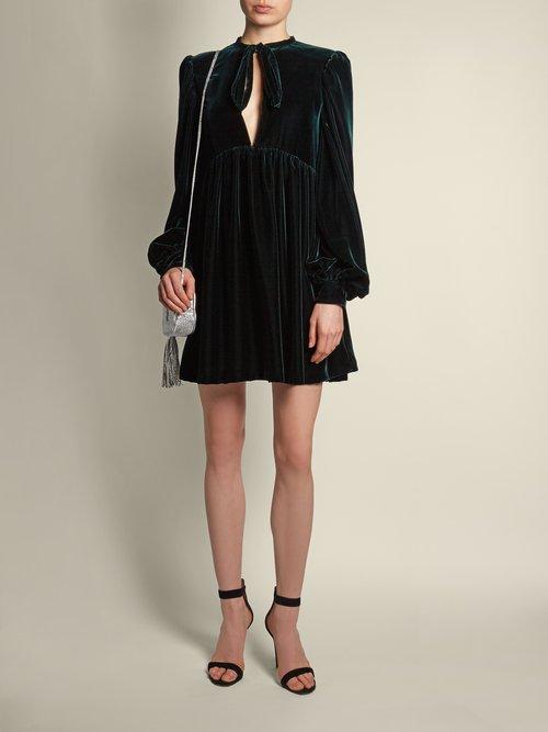 Neck-tie velvet mini dress by Saint Laurent