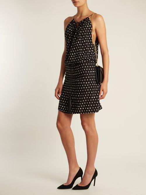 Polka-dot print dropped-waist dress by Saint Laurent