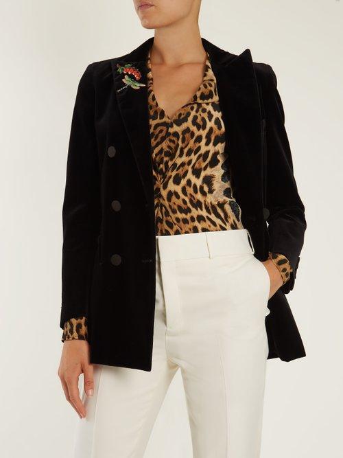 V-neck leopard-print silk blouse by Saint Laurent