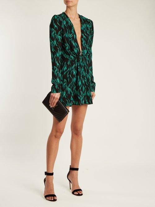 Peacock-print deep V-neck dress by Saint Laurent