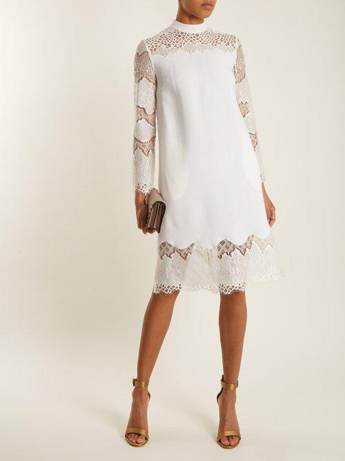 Rachel lace-panelled wool-crepe dress by Huishan Zhang