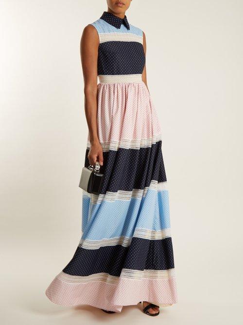 Rivet multi-print patchwork dress by Huishan Zhang