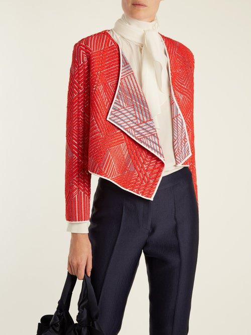Scarlet draped woven cropped jacket by Carl Kapp