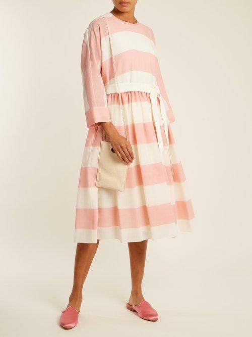 Etamine Dropped Waist Striped Wool Dress by Maison Rabih Kayrouz