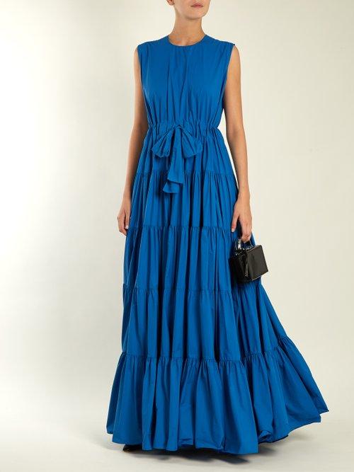 Tiered tie-waist paper-taffeta dress by Maison Rabih Kayrouz