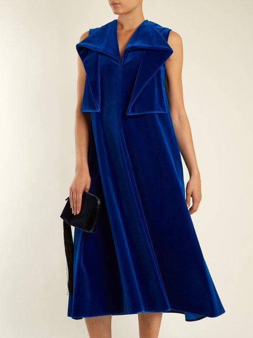 Sleeveless neck-tie cotton-velvet midi dress by Maison Rabih Kayrouz