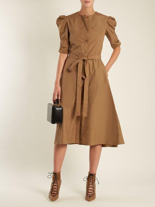 Puff-sleeved cotton-poplin A-line dress by Nina Ricci