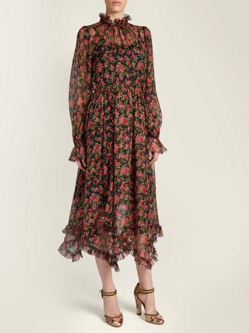 Rose-print ruffle-trimmed silk-chiffon dress by Dolce & Gabbana