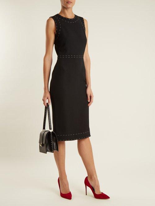 Sleeveless contrast-stitch cady dress by Dolce & Gabbana