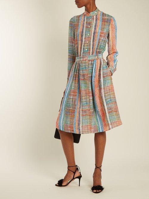 Chaos-print silk-crepe dress by Marco De Vincenzo