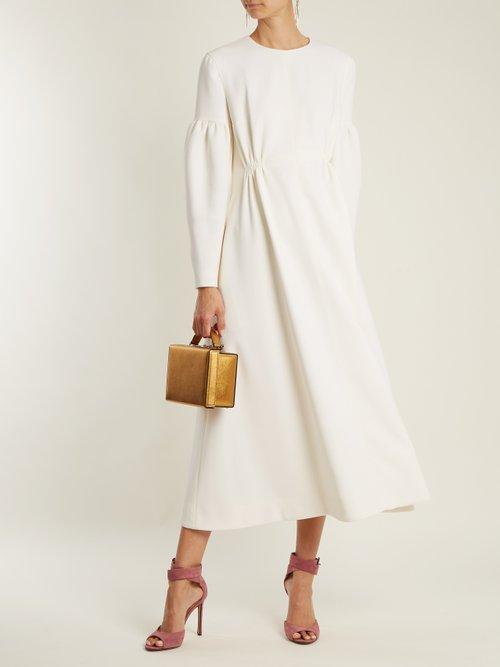 Cecil smocked-waist wool-crepe dress by Emilia Wickstead