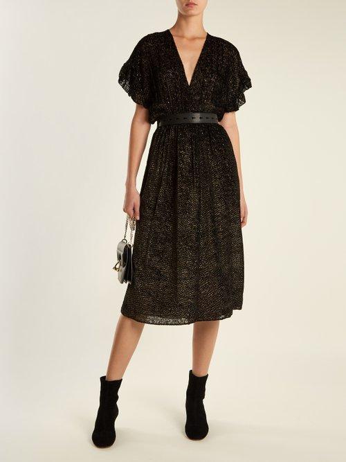 Deep V-neck patterned velvet wrap midi dress by Masscob