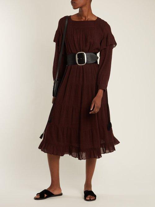 Square-neck micro-checked gauze dress by Masscob