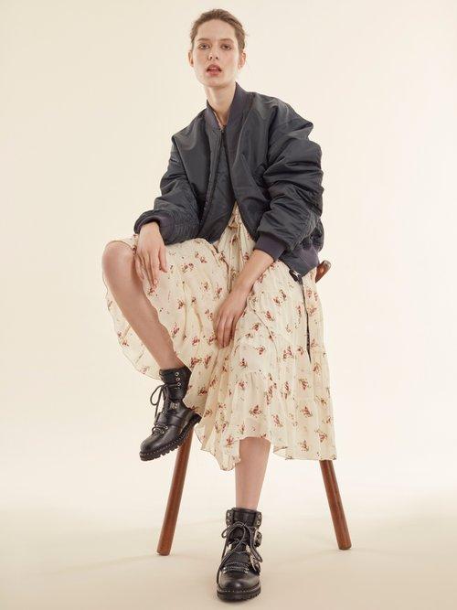 Ruffle-trimmed floral-print silk-chiffon dress by Masscob