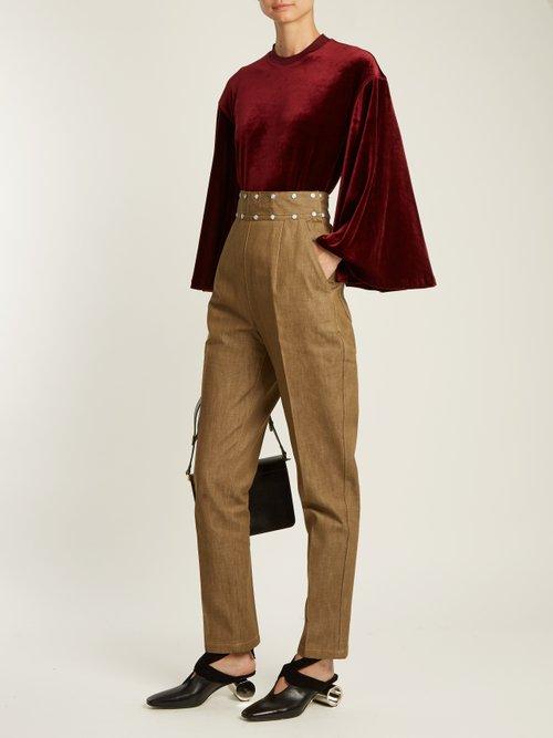 Flared-sleeves velvet top by Toga