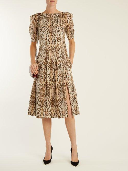 Ocelot leopard-print cotton midi dress by Adam Lippes