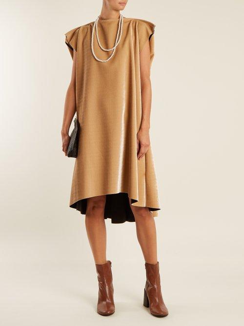 Faux pearl-embellished tie-waist velvet dress by Mm6 Maison Margiela