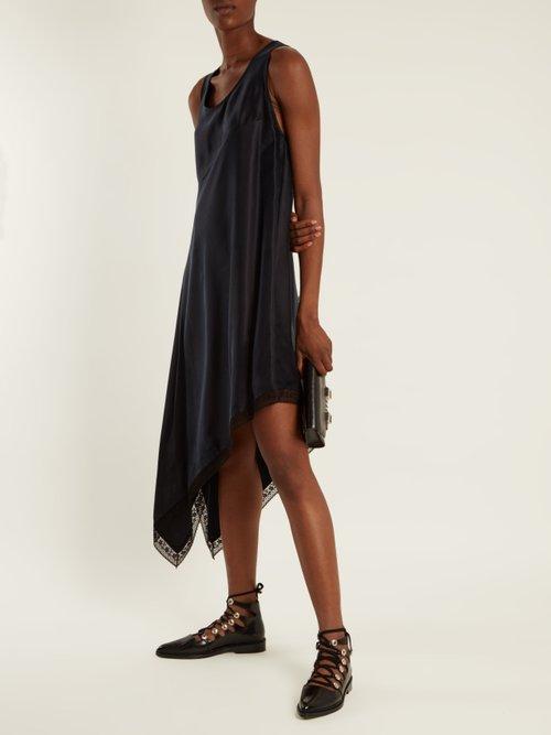 Asymmetric-hem sandwashed-satin dress by Mm6 By Maison Margiela