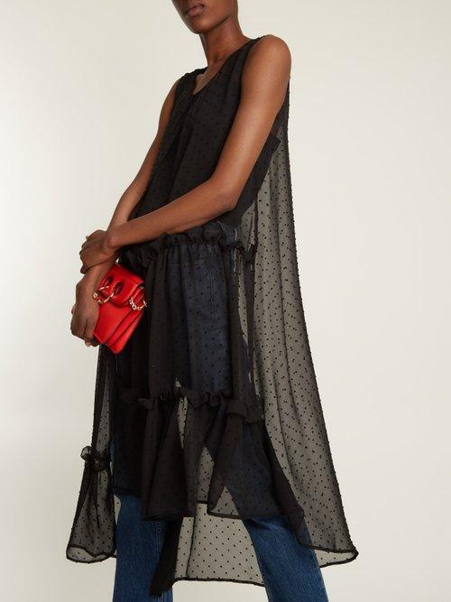 Asymmetric sleeveless dobby-chiffon dress by Mm6 By Maison Margiela