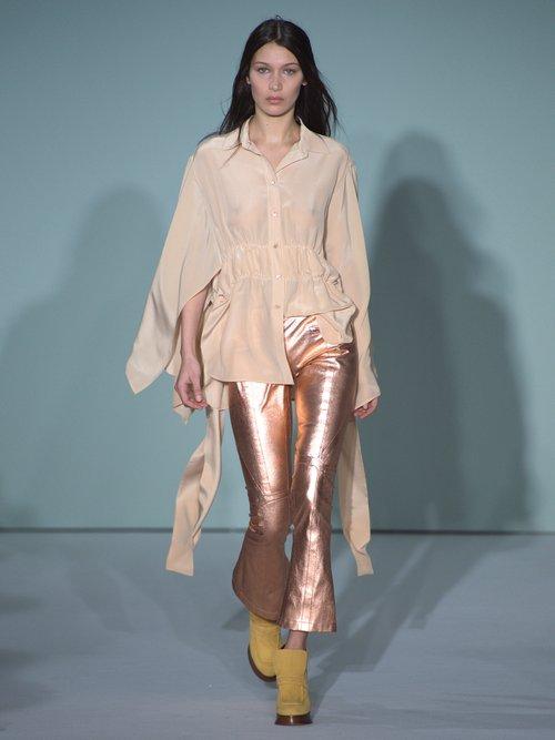 Photo of Addilyn Slit Hem Silk Crepe De Chine Blouse by Sies Marjan - shop Sies Marjan online sales