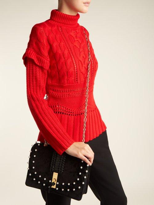 Ghianda braided-leather suede shoulder bag by Altuzarra