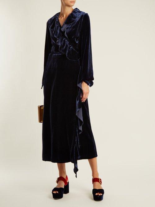 Wilt ruffle-trimmed velvet wrap dress by Racil