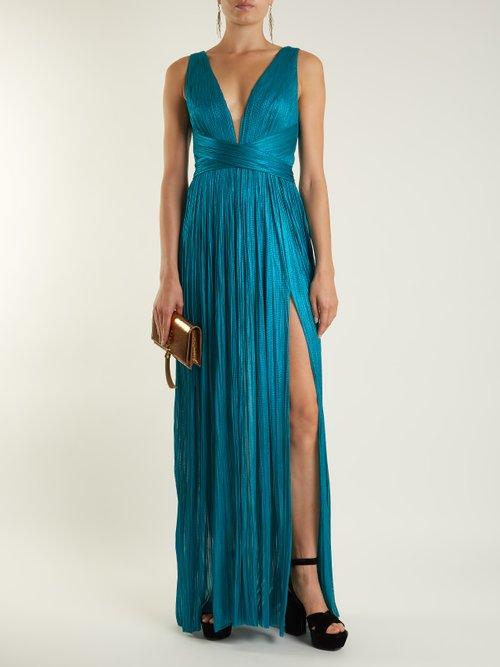Celeste V-neck silk-tulle gown by Maria Lucia Hohan