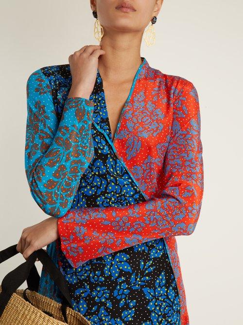 Callow-print panelled bias-cut silk dress by Diane Von Furstenberg