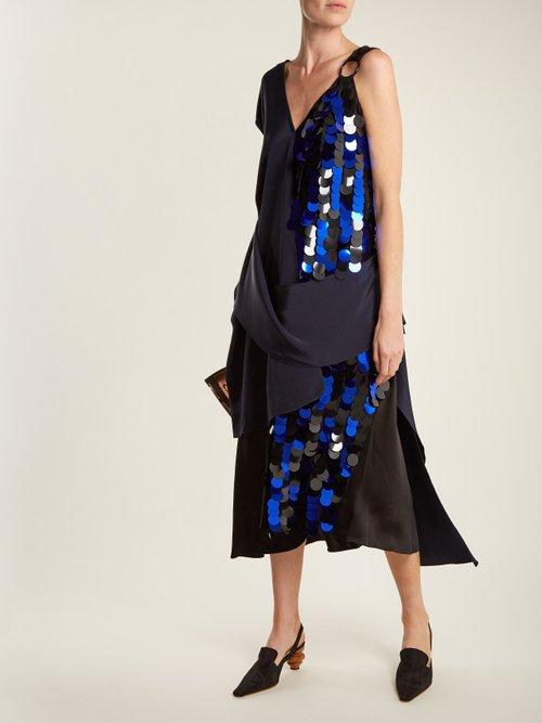 Embellished asymmetric V-neck silk dress by Diane Von Furstenberg