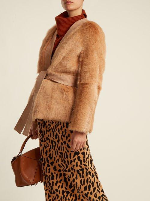 Photo of Suede Trimmed V Neck Shearling Jacket by Diane Von Furstenberg - shop Diane Von Furstenberg jackets and coats sales