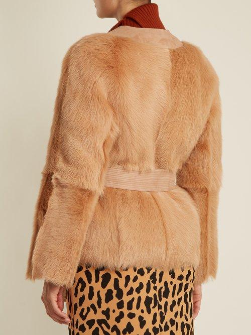 Suede-trimmed V-neck shearling jacket by Diane Von Furstenberg