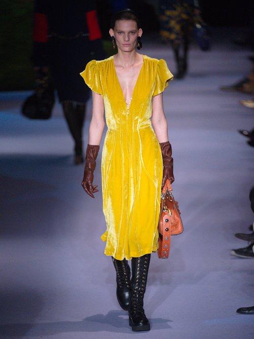 Camilla V-neck velvet midi dress by Altuzarra