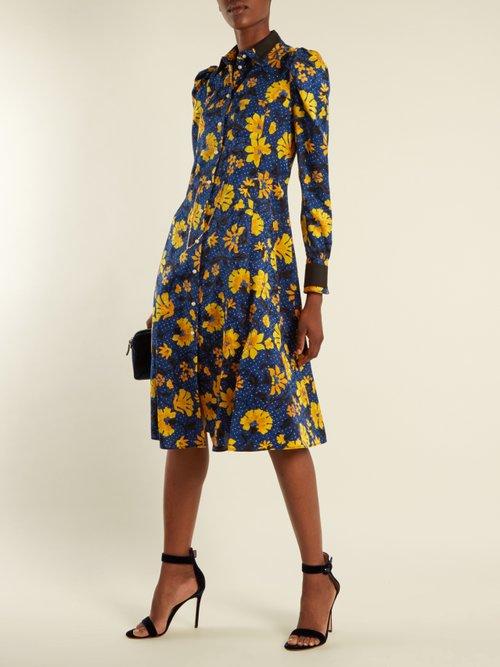 Filippa Floral Print Silk Jacquard Shirtdress by Altuzarra