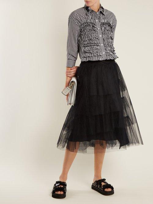 Ruffled-panel gingham cotton shirt by Simone Rocha