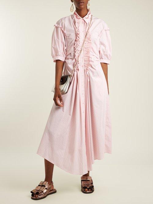 Ruffle-trimmed striped cotton midi dress by Simone Rocha
