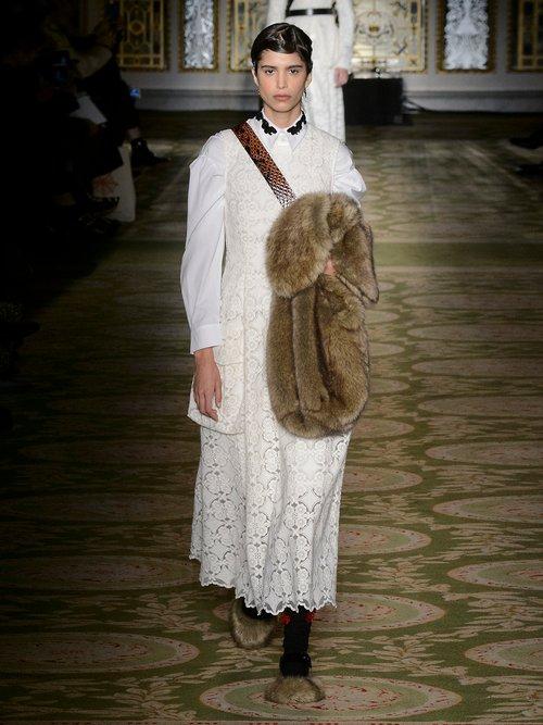 Sleeveless lace midi dress by Simone Rocha