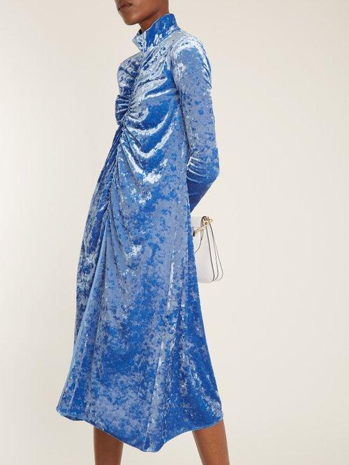 Ruched-detail high-neck crushed-velvet dress by Tibi