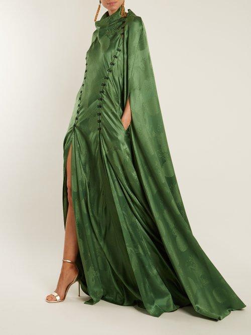 El Capo detachable-cape satin gown by Rosie Assoulin