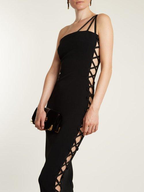 Alpha One Shoulder Lace Up Cady Midi Dress by Azzaro