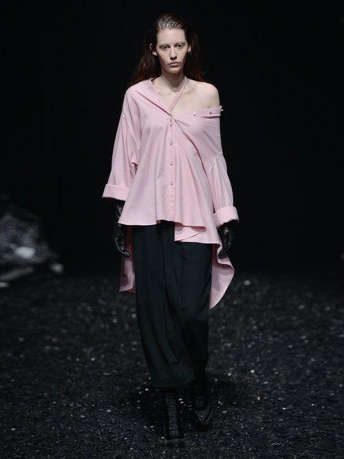 Off-the-shoulder waterfall-hem cotton-blend shirt by Palmer/Harding